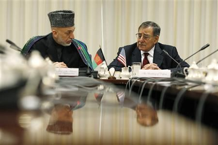 "Hamid Karzai and U.S. Defense Secretary Leon Panetta discuss the ""last chapter"" in war"