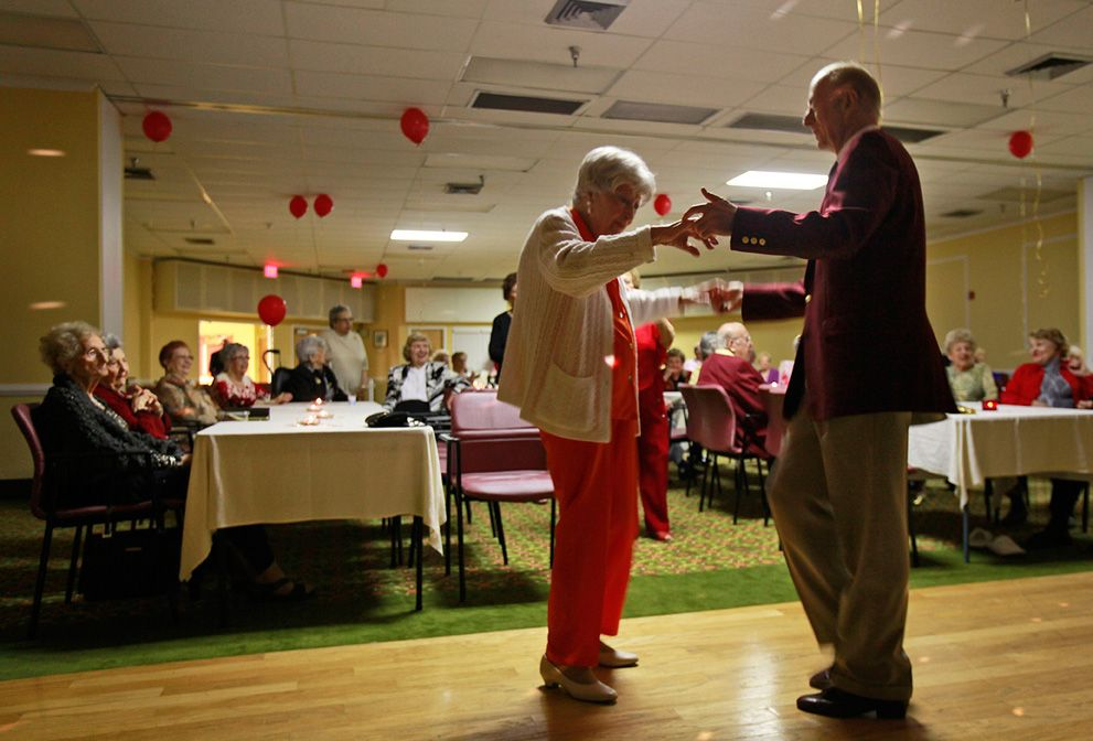Dance at Edgewater Pointe Estates retirement community in Boca Raton, Florida. Women often so greatly outnumber men in retirement communities that Valentine's Day can be a lonely time. But one development has found a solution to its perennial shortage of men at its dances: They're importing them. (AP Photo)