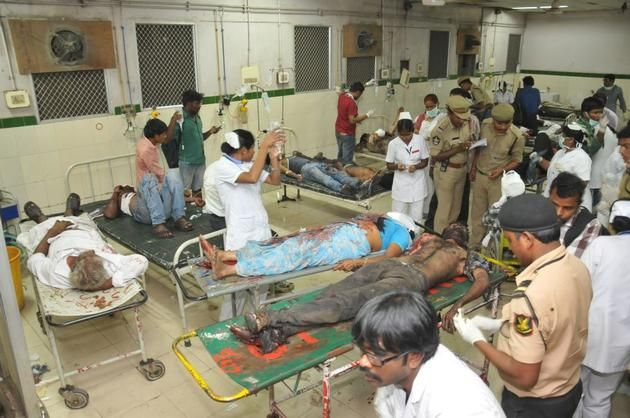 Blast victims at Osmania hospital in Hyderabad. Photo: Nagara Gopal