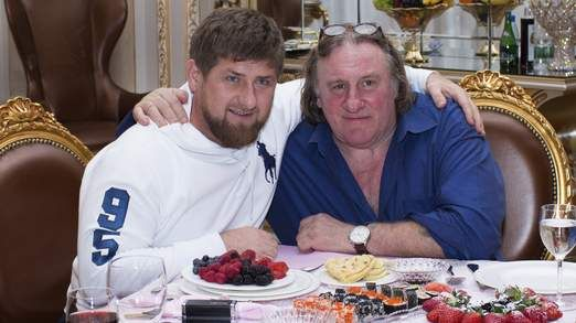 Gerard Depardieu poses for a picture with Chechen leader Ramzan Kadyrov