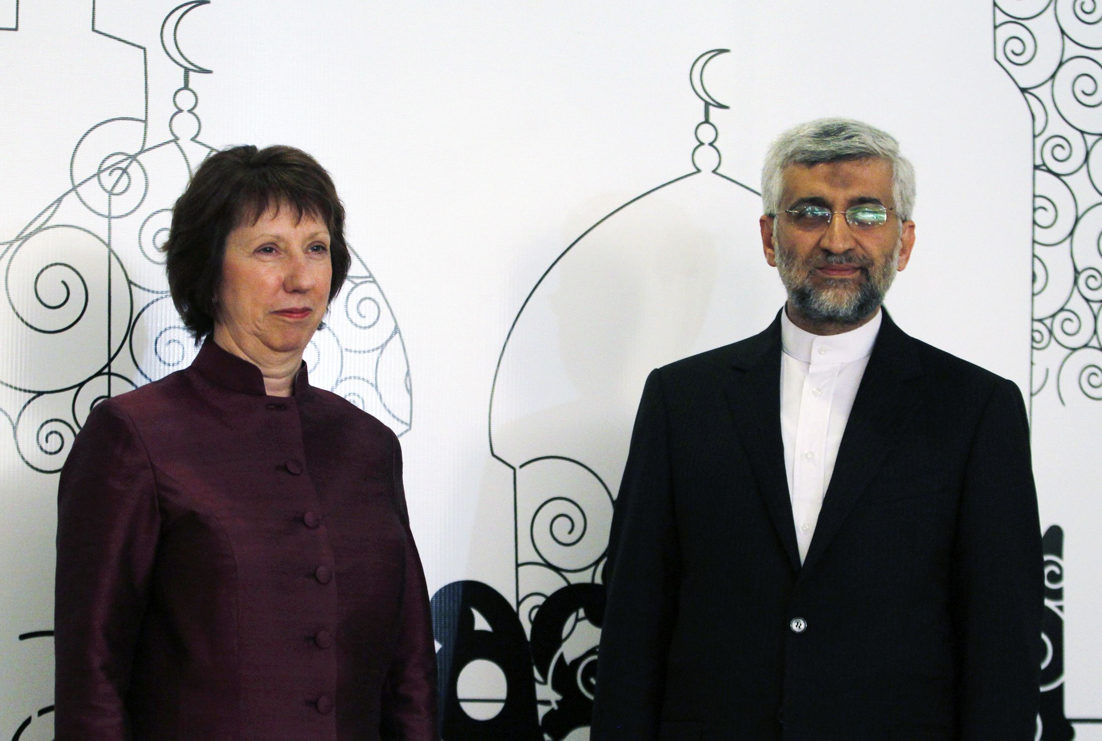 EU Foreign Policy Chief Catherine Ashton and Saeed Jalili, Secretary of Iran's Supreme National Security Council