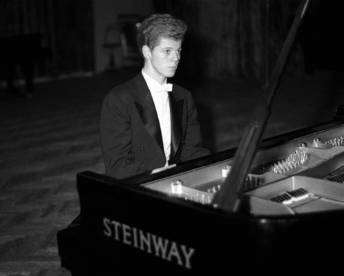 April 11, 1958 file photo shows pianist Van Cliburn performing in final round of Tchaikovsky International Piano & Violin competition in Moscow