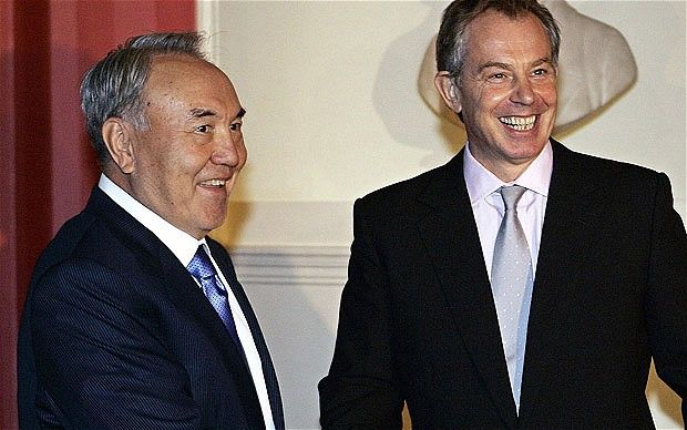 Tony Blair with the President of Kazakhstan, Nursultan Nazarbayev, inside 10 Downing Street in 2006