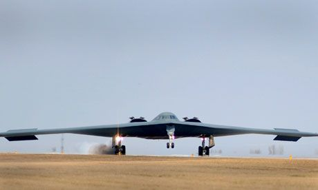 The US has flown two B-2 Spirit bombers on practice runs over South Korea, responding to a series of North Korean threats. Photograph: Reuters