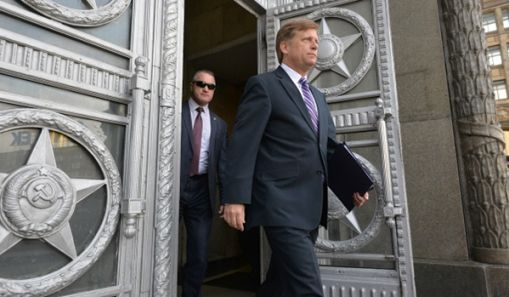 US Ambassador McFaul leaving Russia's Foreign Ministry in Moscow