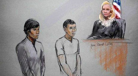 Dias Kadyrbayev (L) and Azamat Tazhayakov are pictured in a courtroom sketch at the John Joseph Moakley United States Federal Courthouse in Boston. ©REUTERS  For more information see: http://en.tengrinews.kz/crime/Boston-might-hear-Kazakhstan-students-case-next-week-19401/ Use of the Tengrinews English materials must be accompanied by a hyperlink to en.Tengrinews.kz