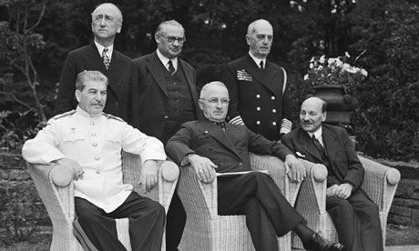 August 1945: British wartime prime minister Clement Attlee, seated right, with US president Harry Truman, and Stalin. Foreign secretary Ernest Bevin stands behind, centre. Photograph: Yevgeny Khaldei/Corbis