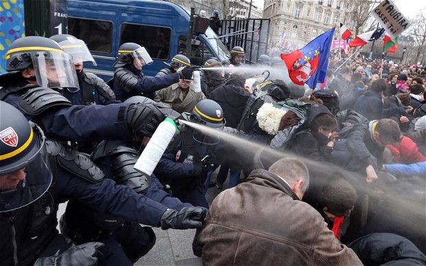 Police tear-gas anti-gay marriage protesters in Paris
