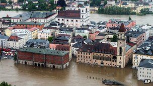 Parts of the old town of Passau in Bavaria are under water