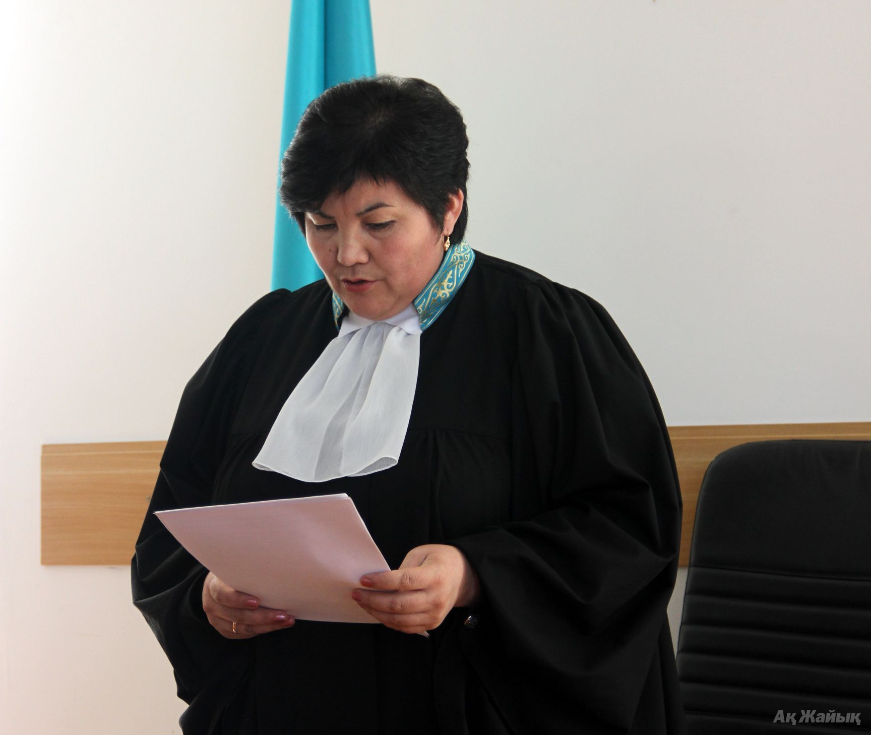 Judge Zaure Kazakbai announcing verdict