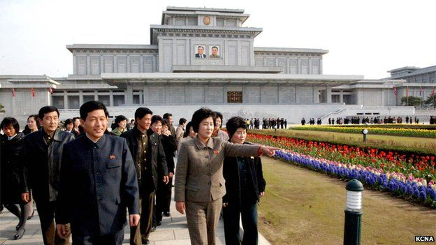 North Koreans visit Kumsusan Palace, where Kim Il-sung and Kim Jong-Il are both enshrined