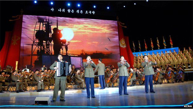 A performance to celebrate the founding of the North Korean army