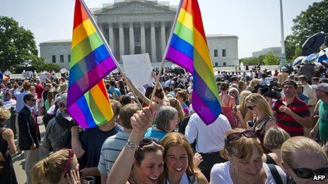 Outside the Supreme Court in Washington DC as many as 1,000 people gathered to cheer the rulings