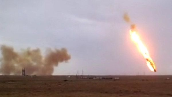Proton rocket explosion after launch from the Baikonur space center