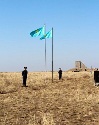 Soldiers near the center of the former Soviet nuclear test site in Semipalatinsk, Kazakhstan.