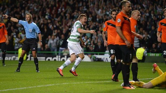 Celtic's James Forrest (2nd L) celebrates his goal against Shakhter Karagandy