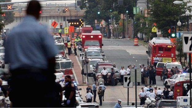Dozens of emergency vehicles converged on the site as news of the shooting emerged. @BBC