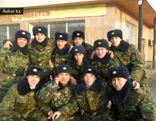 Arkankergen soldiers a few months before the incident. Private Chelakh standing first from right