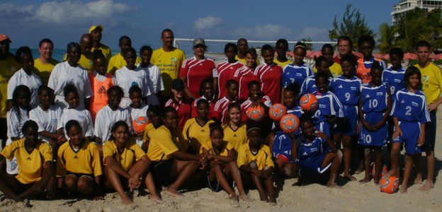 A youth training session on the islands. Green is in the back row, fourth from the right.