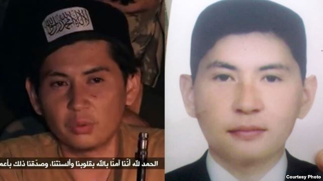 Amanzhol Zhansengirov, pictured left as a purported jihadist in Syria, and right as a budding management student