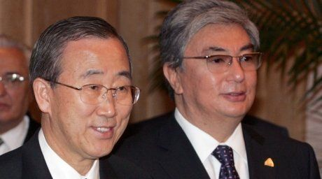 UN Secretary-General Ban Ki-moon and Kassym-Zhomart Tokayev. REUTERS/Shamil Zhumatov©