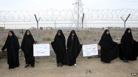 Iranian students staged a protest in Qom in defence of the nuclear programme