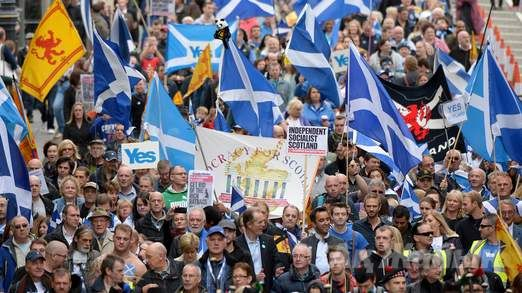 Pro-independence supporters march through Edinburgh in September