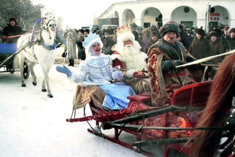 Ded Moroz (Grandfather Frost) and his beloved granddaughter Shegurochka (the Snow Maiden) are the main characters of the Russian winter legends. Source: ITAR-TASS