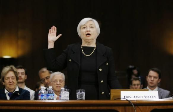 Janet Yellen, President Barack Obama's nominee to lead the U.S. Federal Reserve, is sworn in to testify at her U.S. Senate Banking Committee confirmation hearing in Washington in this file photo taken November 14, 2013.