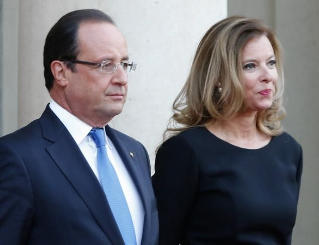President Francois Hollande and the first lady Valerie Trierweiler