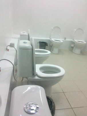 BBC cameraman Max Lomakin snapped these communal toilets at Kazan University