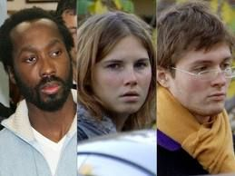 Amanda Knox (centre), Raffaele Sollecito (right), and Rudy Guede (left).