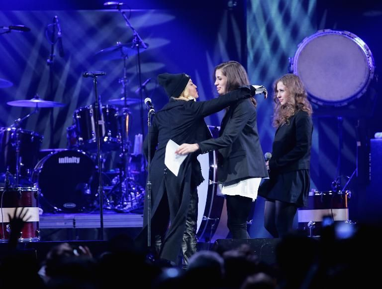 Madonna introduces Nadezhda Tolokonnikova, and Maria Alyokhina of Pussy Riot onstage at the Amnesty International Concert .