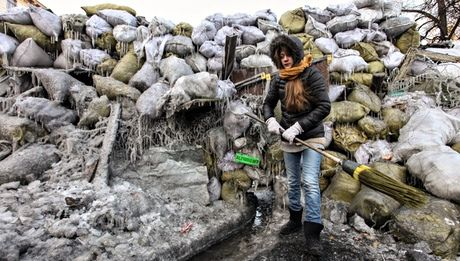 The 'ice barricade' that protesters built from sandbags filled with snow. Photograph: Alex Kuzmin/Demotix/Corbis