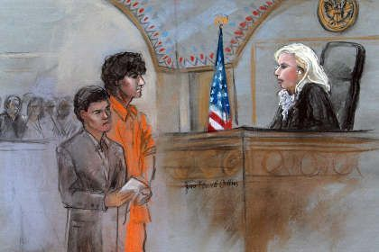 D. Tsarnaev in court. Picture: Jane Flavell Collins / AP