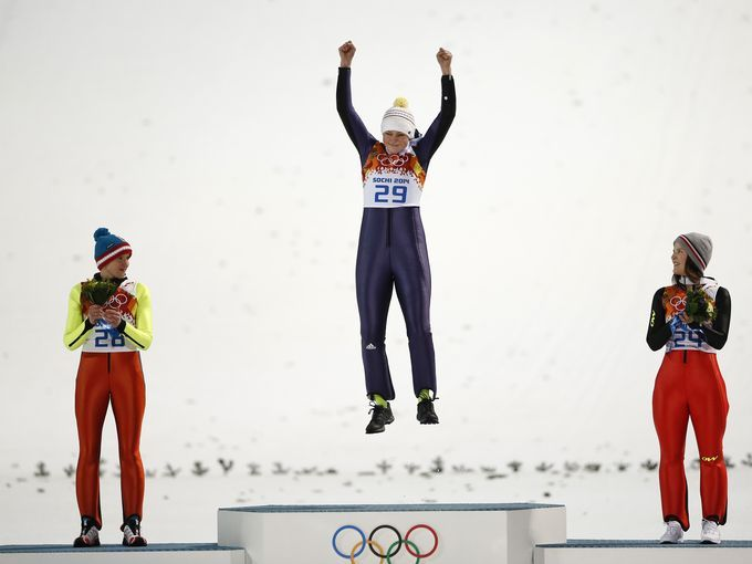 Carina Vogt of Germany is pleased with her jump.Photo:usatoday.
