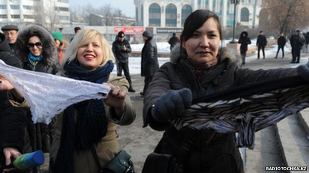 Laced panty protestors in Almaty, 16 Feb. 2014
