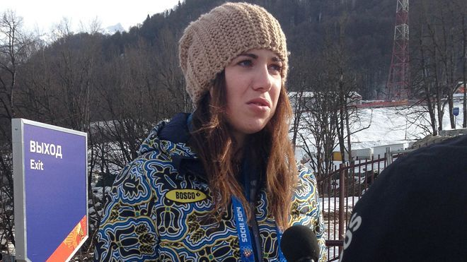 Alpine skier Bogdana Matsotska from Ukraine leaves Sochil Games in support of protesters back home.