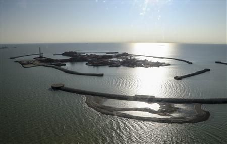 An aerial view shows the artificial islands at the Kashagan offshore oil field in the Caspian sea in western Kazakhstan October 16, 2013.