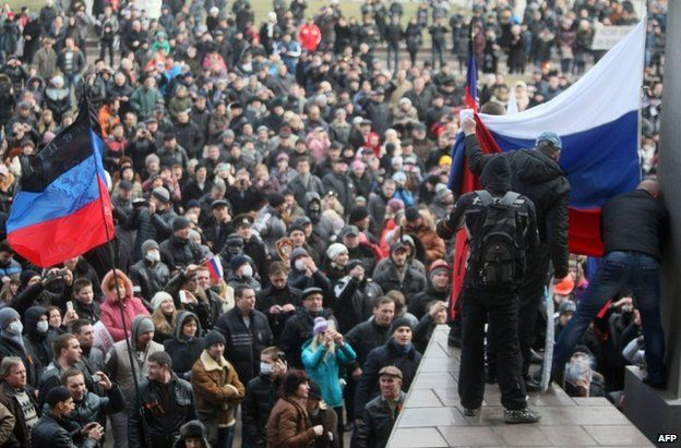 In Donetsk, thousands of pro-Russian demonstrators rallied outside regional government offices