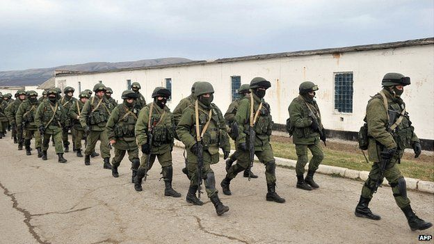 Soldiers surround Ukrainian army base in Crimea. 2 March 2014 Soldiers, believed to be Russian, have surrounded Ukrainian military bases in Crimea