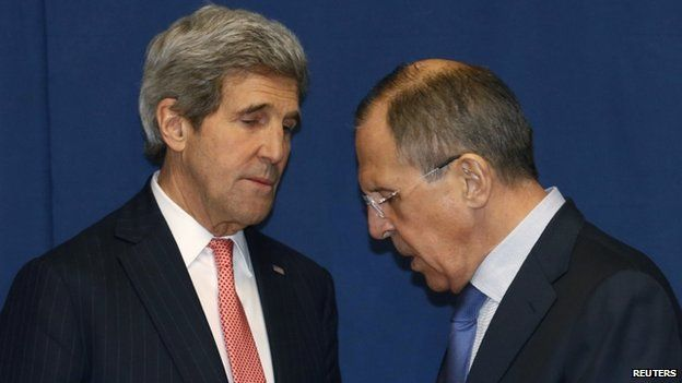 Relations between Mr Kerry (left) and Mr Lavrov have been increasingly strained because of the Ukraine crisis