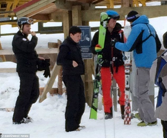Skiing: Prince Harry, second right, pictured on the slopes at the Shymbulak resort in Kazakhstan  Read more: http://www.dailymail.co.uk/news/article-2588528/Harry-Cressida-hit-slopes-Kazakh-ski-resort-Couple-enjoy-private-holiday-luxury-chalet.html#ixzz2x2nwKeLK  Follow us: @MailOnline on Twitter | DailyMail on Facebook