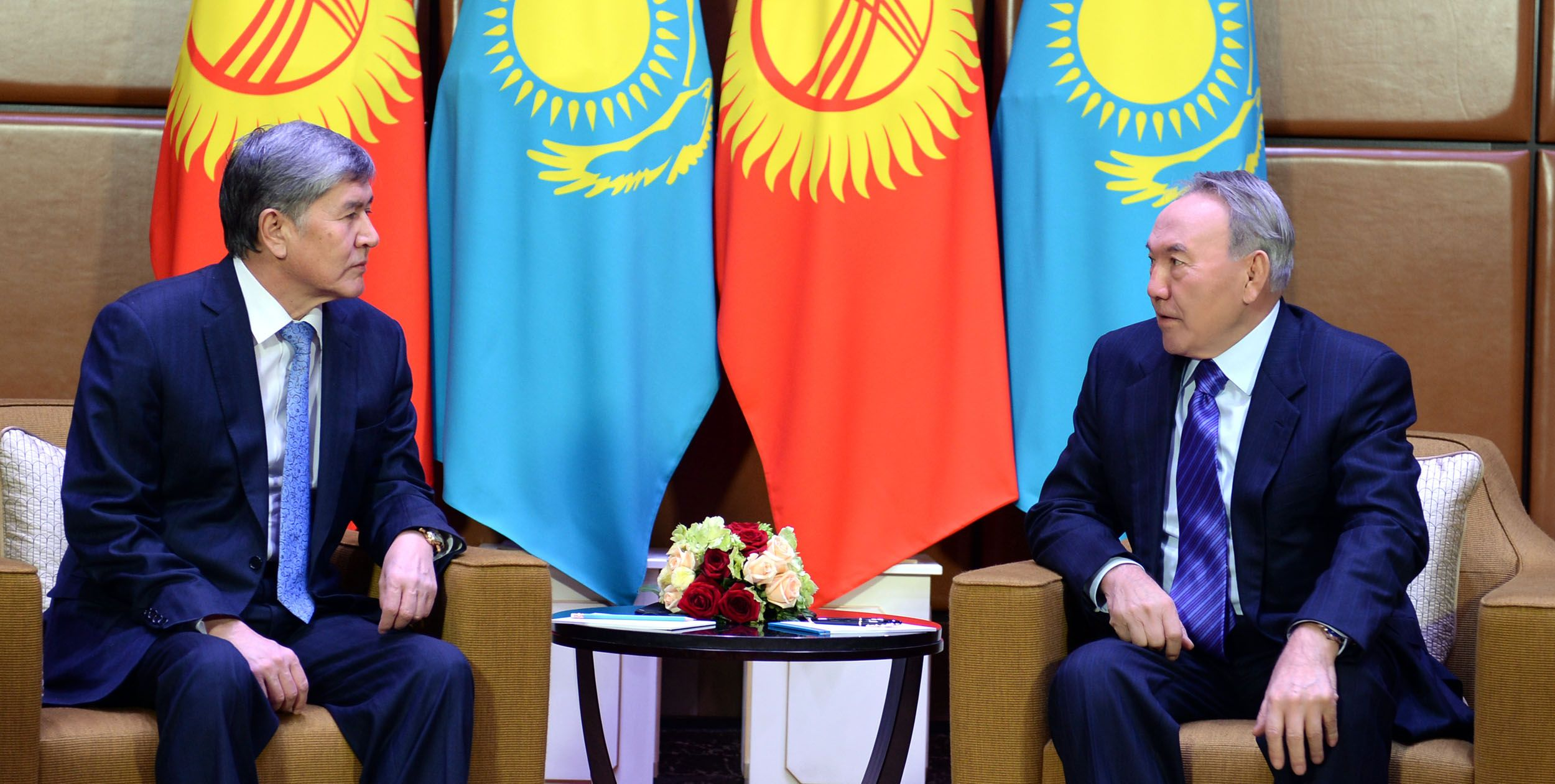 President Nursultan Nazarbayev during his working visit to Almaty held a meeting with President of Kyrgyzstan Almazbek Atambayev on March 26, 2014.