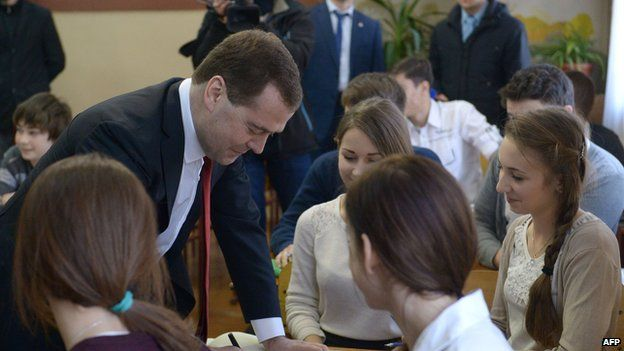 The Russian prime minister visited a school in Simferopol on Monday morning