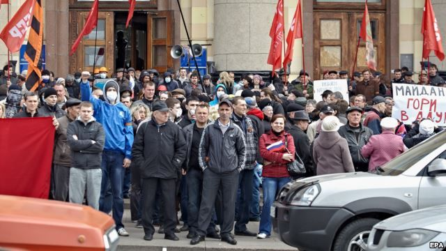 Pro-Russian protesters rallied in front of the occupied regional administration building in Kharkiv on April 7.