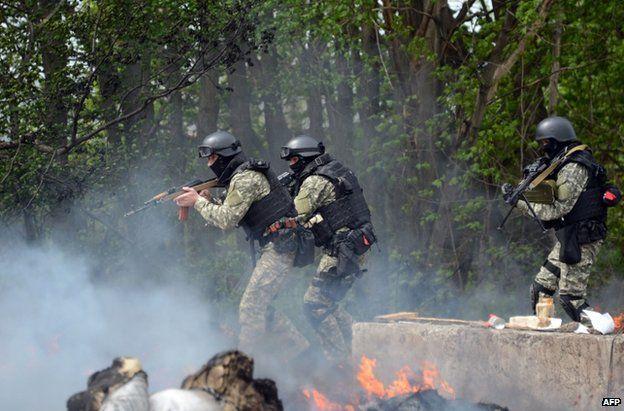 Ukrainian commandos outside Sloviansk on Thursday