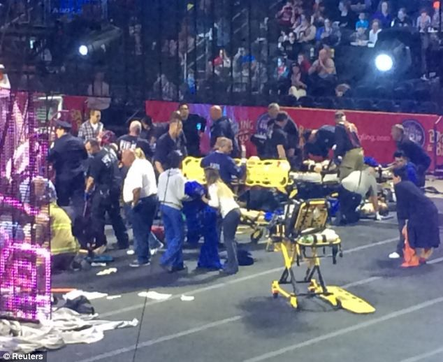 The moment circus platform collapsed and fell forty feet injuring 20 after acrobats were hanging by their HAIR.