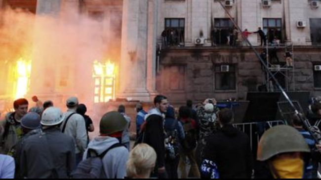 Fire at Trade Union House building in Ukraine's Odessa