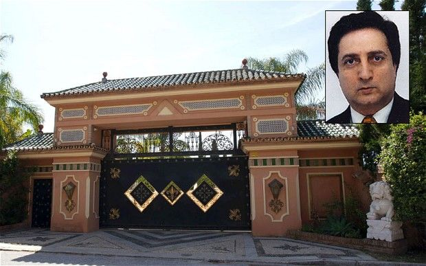 hoja Shojai, inset, is suspected of a harem of women against their will in his mansion near Marbella, pictured